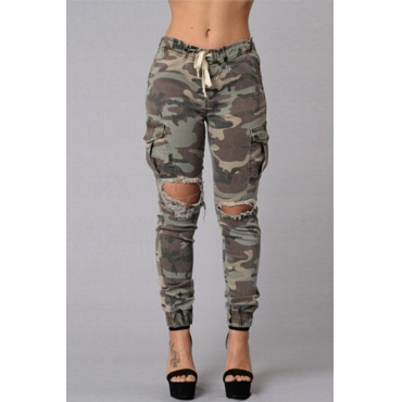 Lovely Trendy Elastic Waist Camouflage Printed Cotton Blends Pants