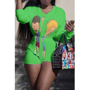LovelyCasual Round Neck Cartoon Printed Green Polyester One-piece Short Jumpsuits