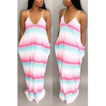 Lovely Casual V Neck Striped Pink Blending Floor Length Dress