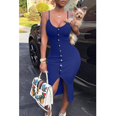 Lovely Sexy V Neck Single-breasted Design Blue Polyester Sheath Mid Calf Dress