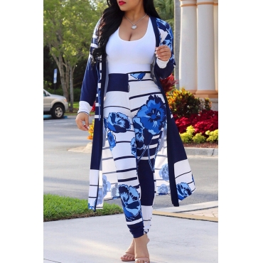 LovelyLeisure Striped+Floral Printed Blue Polyester Two-piece Pants Set(Without Tank Top)