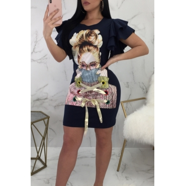 Lovely Fashion Round Neck Lotus Leaf Sleeves Characters Printed Black Twilled Satin Mini Dress