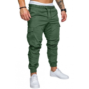 Lovely Casual Mid Waist Army Green Cotton Pants