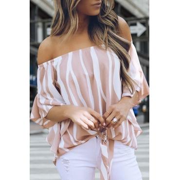 Lovely Chic Bateau Neck Striped Pink Cotton Blends Shirts