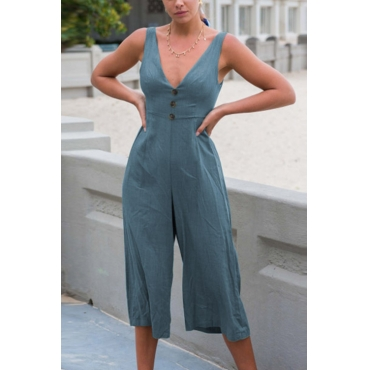 Lovely Chic V Neck Buttons Blue Cotton Blends One-piece Jumpsuits