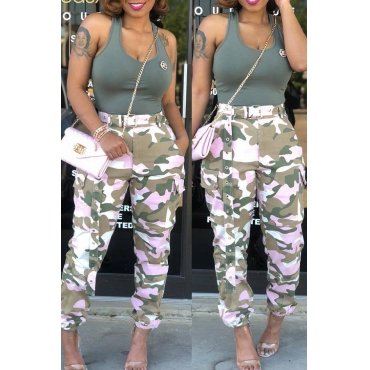 Lovely Casual Mid Waist Camouflage Printed Pink Cotton Pants