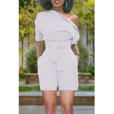 Lovely Chic Show A Shoulder White Polyester One-piece Short Jumpsuits