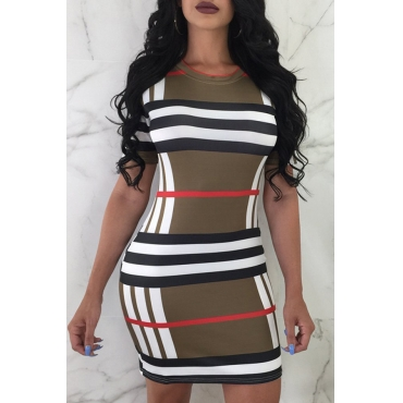 Lovely Casual Round Neck Short Sleeves Grid Printed Army Green Qmilch Sheath Mini Dress