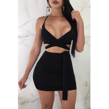Lovely Sexy V Neck Bandage Black Polyester Two-piece Skirt Set
