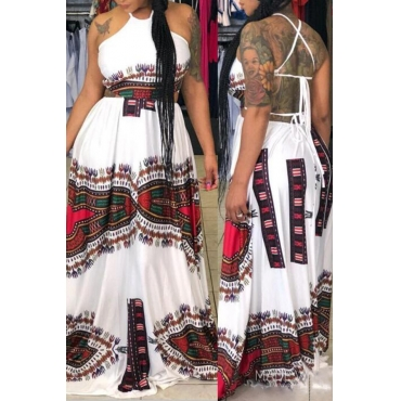 Lovely Fashion Round Neck Backless Printing Qmilch Floor Length Dress