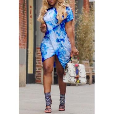 Lovely Casual Round Neck Printing Irregular Light Blue  Mini Dress