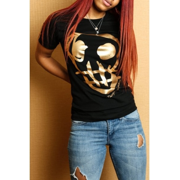Lovely Casual Round Neck Skull Head Black Qmilch T-shirt