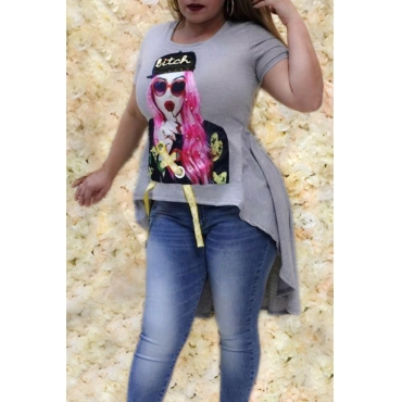 Lovely Leisure Round Neck Character Printed Grey Polyester T-shirt