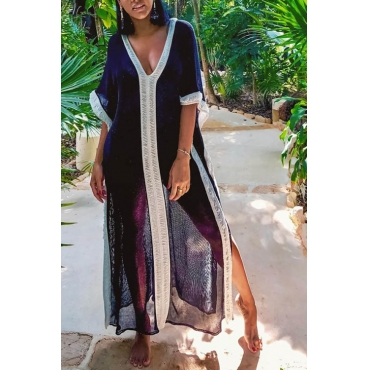 Lovely Casual V Neck Patchwork Dark Blue Chiffon Cover-Ups
