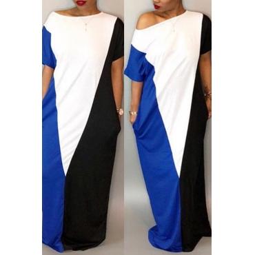 Lovely Casual Short Sleeves Patchwork Navy Blue Cotton Blend Floor Length Dress
