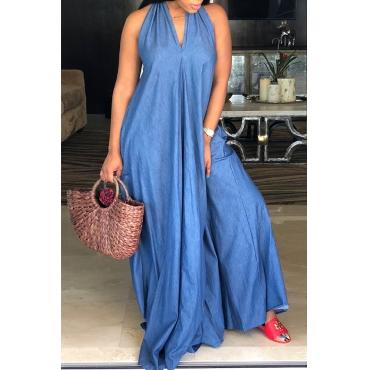 Lovely Fashion V Neck Backless Blue Denim Floor Length Dress