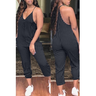 Lovely Trendy Striped Black Polyester One-piece Jumpsuit