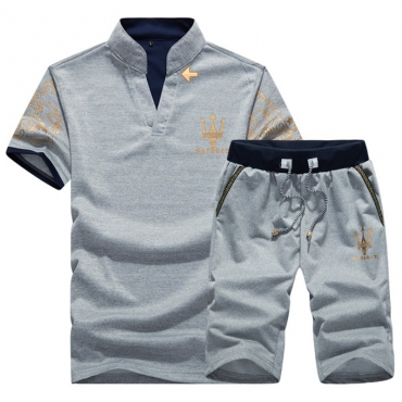 Lovely Casual Turndown Collar Printing Grey Polyester Two-piece Shorts Set for men