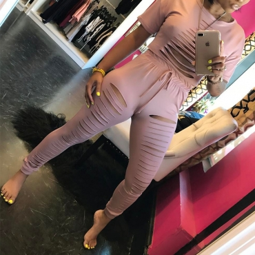 LovelySexy Hollow-out Pink Polyester Two-piece Pants Set