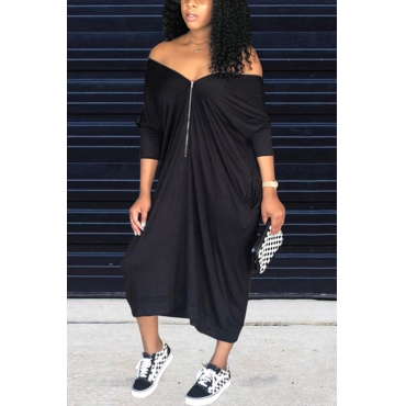 Lovely Casual V Neck Batwing Sleeves Zipper Design Black Blending Mid Calf Dress