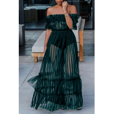 Lovely Sexy Bateau Neck See-Through Green Polyester Ankle Length Dress(Without Subcoating)