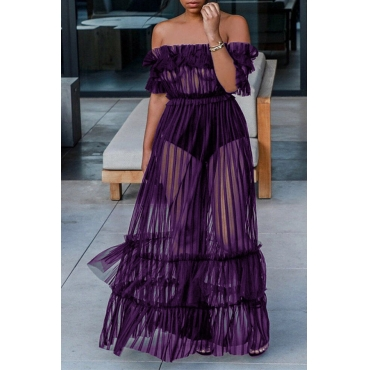 Lovely Sexy Bateau Neck See-Through Purple Polyester Ankle Length Dress(Without Subcoating)