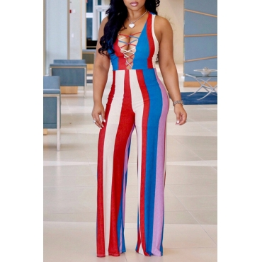 Lovely Bohemian V Neck Striped Red Polyester One-piece Jumpsuits