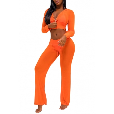 Lovely Sexy Hooded Collar See-Through Drawstring Orange Yellow Polyester Two-Piece Pants Set(Without Subcoating)