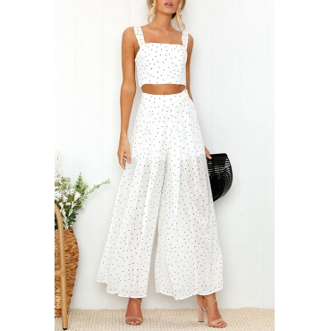 Lovely Fashion Square Neck Dot Printed White Blending Two-piece Pants Set