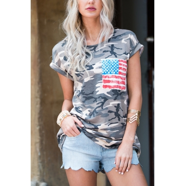 Lovely Casual Round Neck Short Sleeves Camouflage Cotton T-shirt