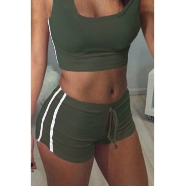 Lovely Casual U Neck Striped Army Green Polyester Two-piece Shorts Set