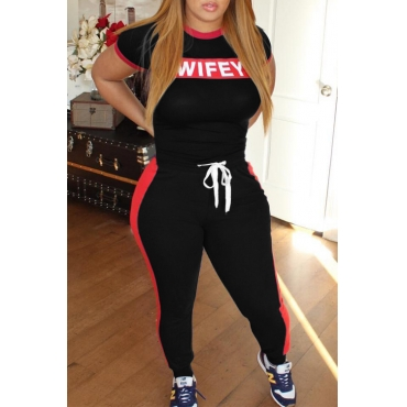 Lovely Casual Letter Printing Black Polyester Two-piece Pants Set