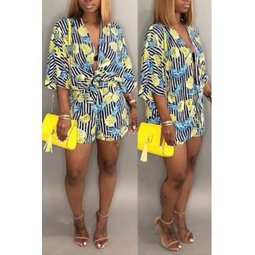 Lovely Casual Printed Striped Yellow Polyester Two-piece Shorts Set