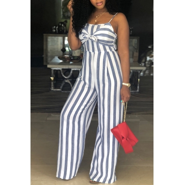 Lovely Casual Dew Shoulder Striped Grey Healthy Fabric One-piece Jumpsuits
