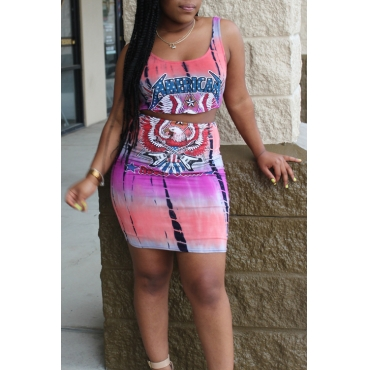 Lovely Leisure Printed Blending Two-piece Skirt Set