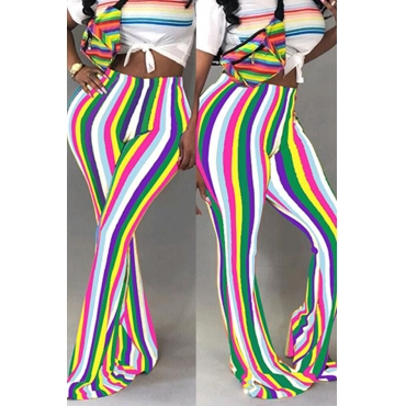 LovelyTrendy Hight Waist Colorful Striped White Polyester Pants