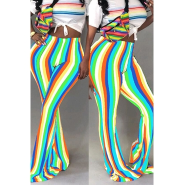Lovely Trendy Hight Waist Colorful Striped Blue Polyester Pants