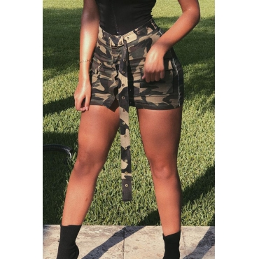 Lovely Fashion Camouflage Printed Army Green Cotton Blends Mini Skirts(Without Belt)