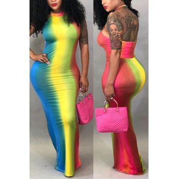 Lovely Fashion Halter Backless Tie-dye Rainbow Striped  Floor Length Dress