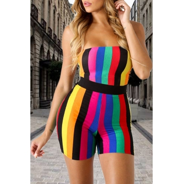Lovely Street Bateau Neck Colorful Striped Polyester One-piece Short Jumpsuits