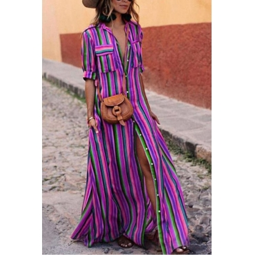 Lovely Fashion Turndown Collar Colorful Striped Purple Polyester Floor Length Dress
