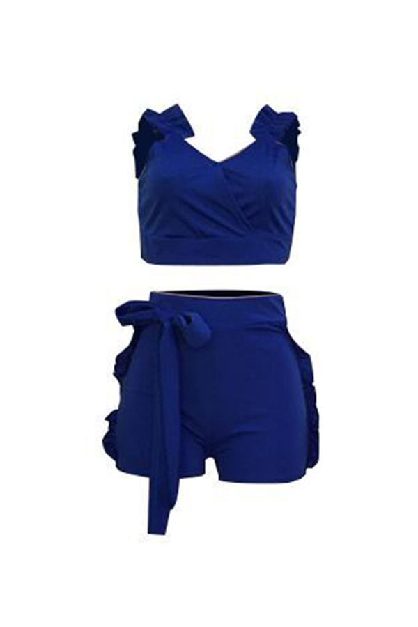 LovelyCharming Falbala Design Royalblue Cotton Blends Two-piece Short Set