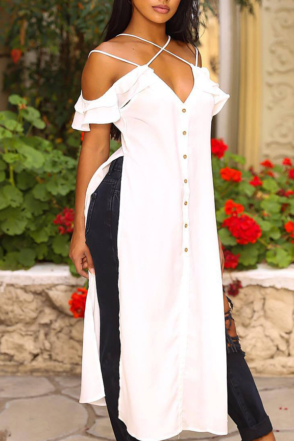 Lovely Casual Bateau Neck Flounce Buttons White Polyester Shirts