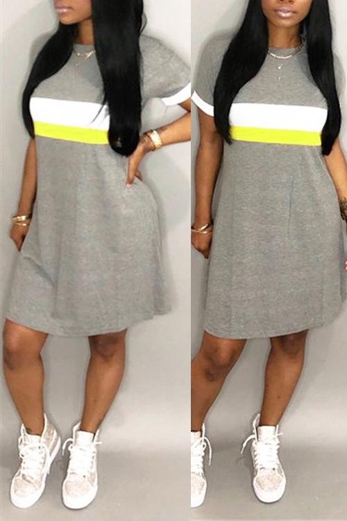 Lovely Fashion Round Neck Patchwork Light Grey Blending Mini Dress