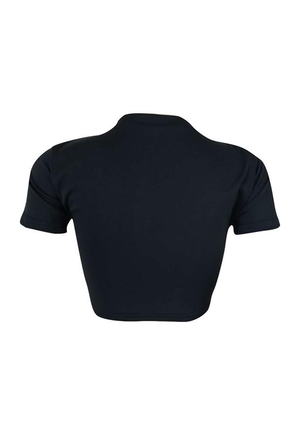 Lovely Street Round Neck Letter Printed Black T-shirt