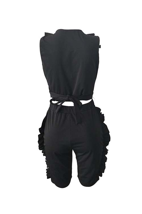 Lovely Sexy V Neck Ruffle Black Twilled Satin Summer Two-piece Shorts Set
