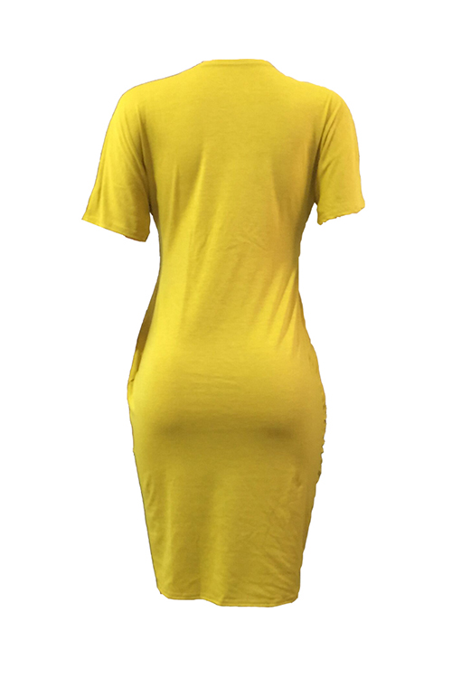 Lovely Polyester Casual O neck Cap Sleeve Short Sleeve Straight Mini Dresses