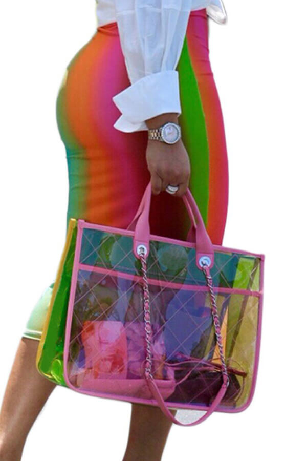 LovelySexy Rainbow Printed Mid Calf Skirts