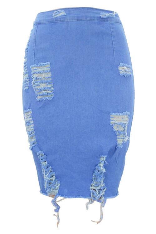 LovelyTrendy Broken Holes Light Blue Denim Sheath Knee Length Skirts