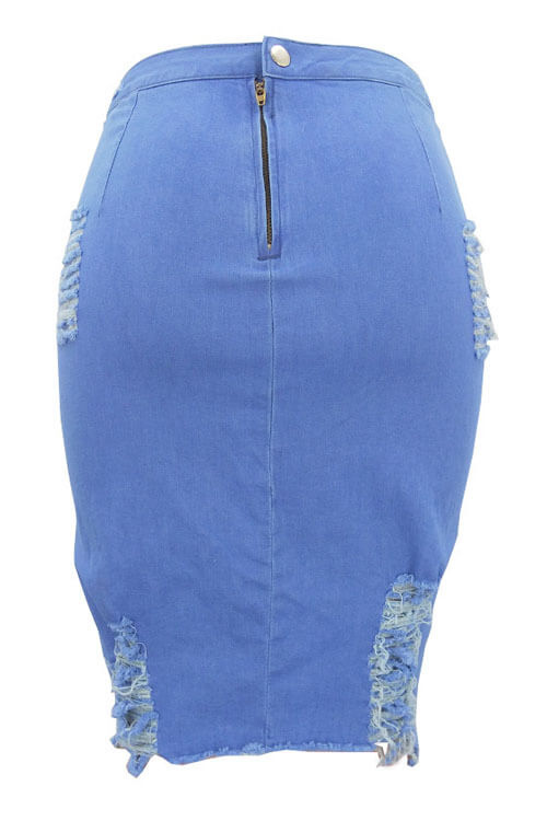 LovelyTrendy Broken Holes Light Blue Denim Sheath Knee Length Skirts